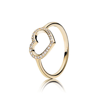 Gold Captured Heart Ring