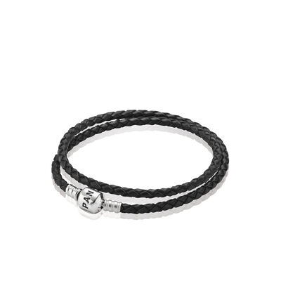 Moments Double Woven Leather Bracelet - Black