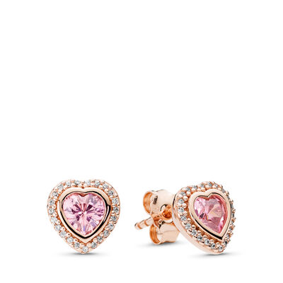 Pink Sparkling Love Stud Earrings