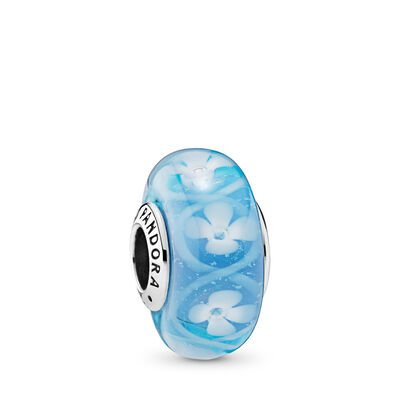Blue Bloom Murano Glass Charm