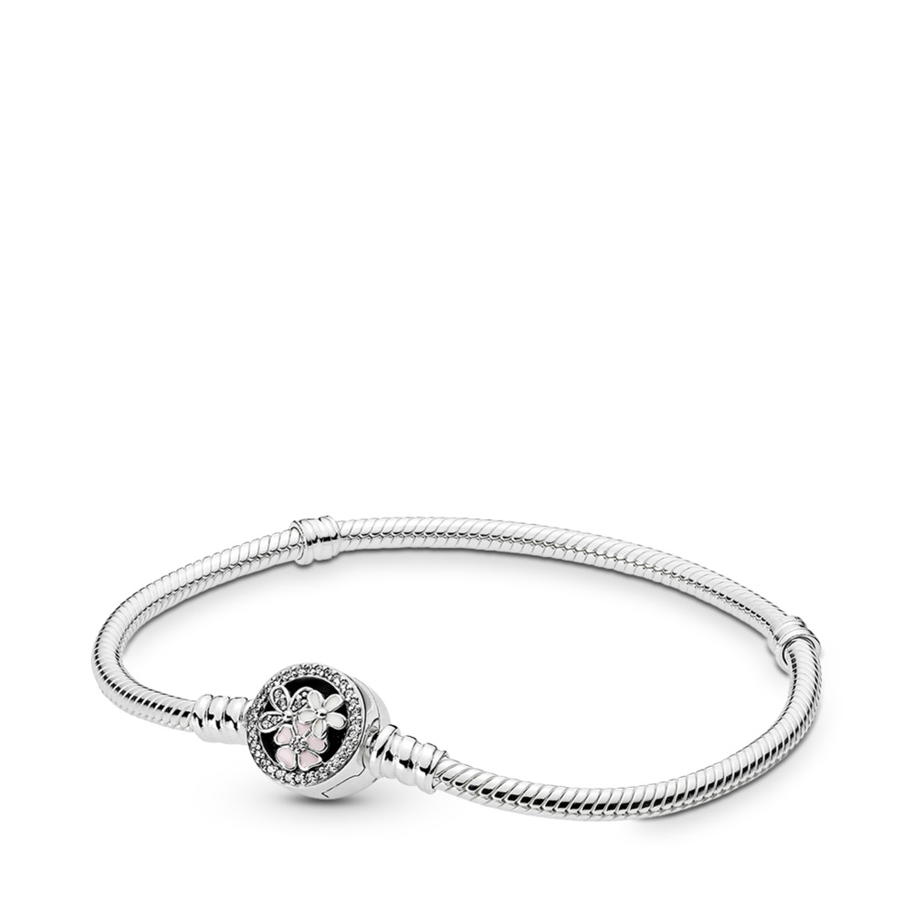 Moments Silver Bracelet with Poetic Blooms Clasp