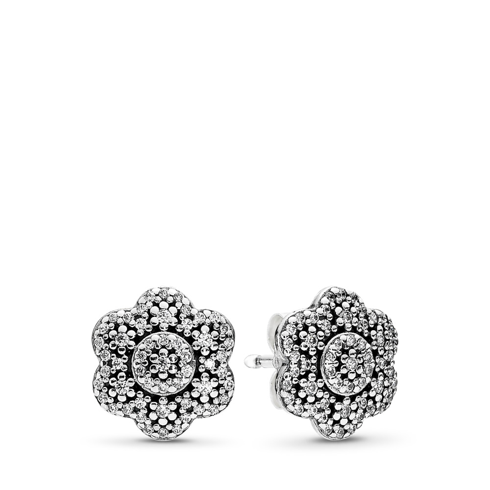 Crystallised Floral Stud Earrings