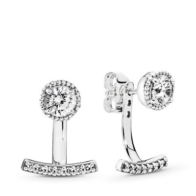 Abstract Elegance Stud Earrings, Sterling silver, Cubic Zirconia - PANDORA - #290743CZ