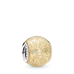 Golden Glitter Ball Charm, Sterling silver, Enamel, Yellow - PANDORA - #796327EN146