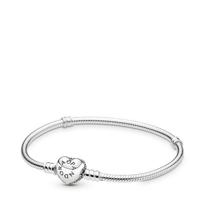 Moments Silver Bracelet with Pavé Heart Clasp, Sterling silver, Cubic Zirconia - PANDORA - #590727CZ