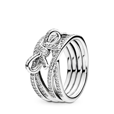 Delicate Sentiments Ring, Sterling silver, Cubic Zirconia - PANDORA - #190995CZ