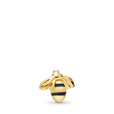 Queen Bee Petite Locket Charm, PANDORA Shine, Enamel, Black - PANDORA - #767049EN16