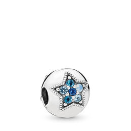 Bright Star Clip, Sterling silver, Blue, Crystal - PANDORA - #796380NSBMX