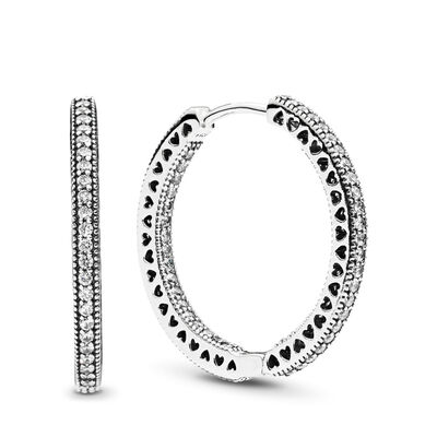 Hearts of PANDORA Hoop Earrings, Sterling silver, Cubic Zirconia - PANDORA - #296319CZ