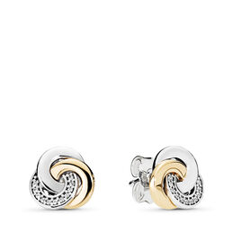 Interlinked Circles Stud Earrings, Two Tone, Cubic Zirconia - PANDORA - #290741CZ