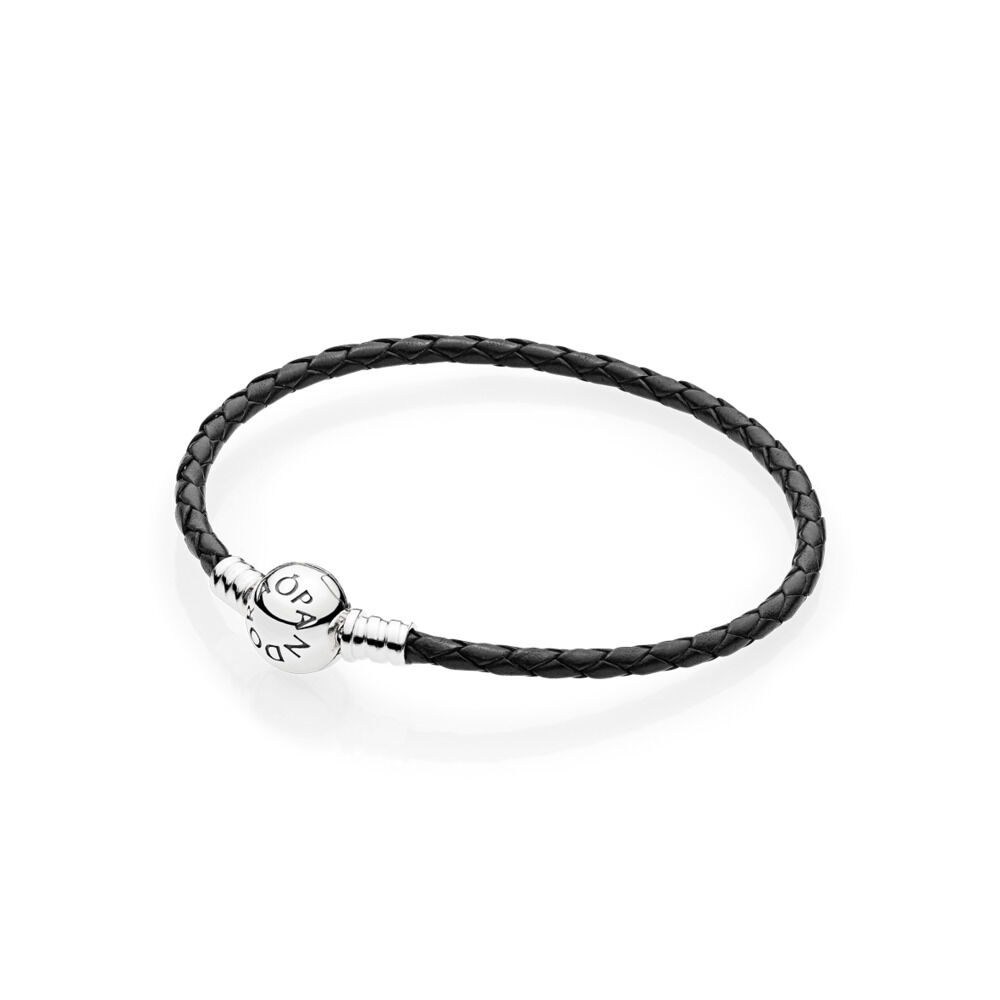 Moments Single Woven Leather Bracelet Black