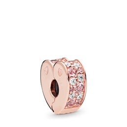 Pink Mix Arcs of Love Clip, PANDORA Rose, Silicone, Pink, Mixed stones - PANDORA - #787020NPM