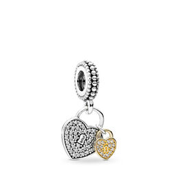 Love Locks Pendant Charm, Two Tone, Cubic Zirconia - PANDORA - #791807CZ