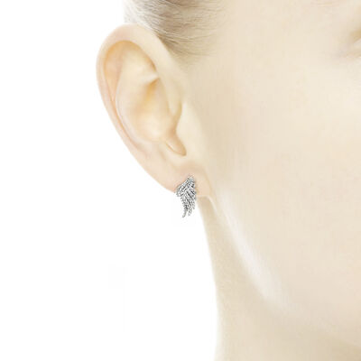 Majestic Feathers Stud Earrings, Sterling silver, Cubic Zirconia - PANDORA - #290581CZ