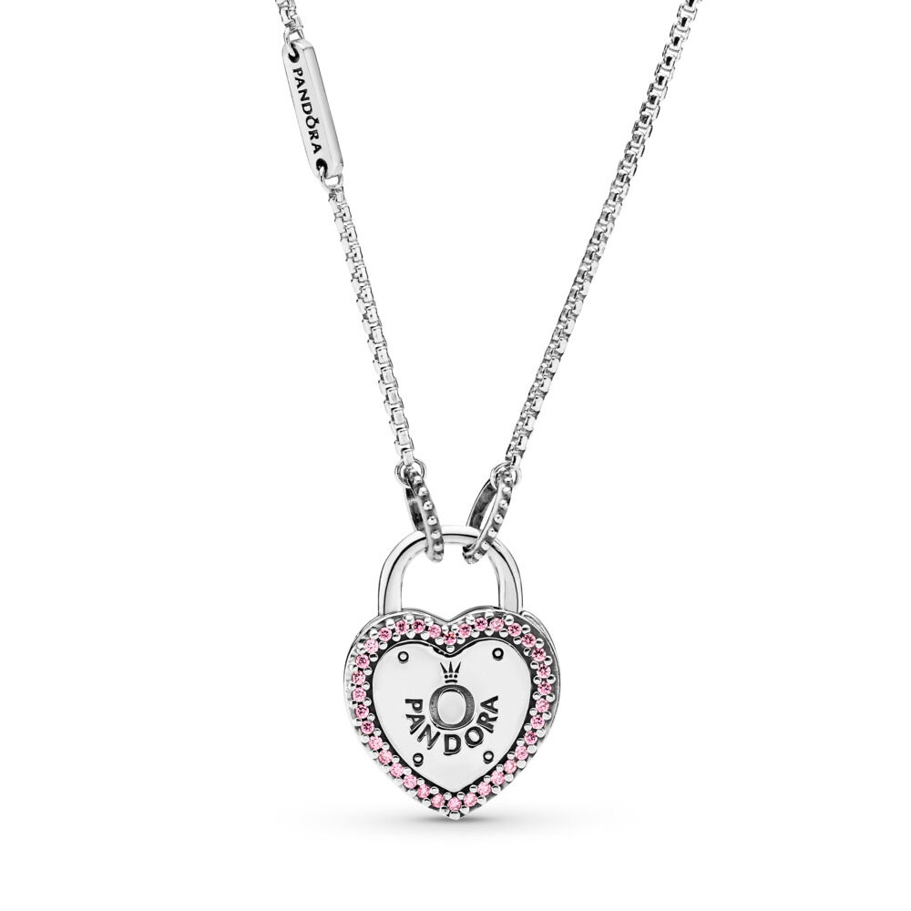 fe577e93af Lock Your Promise Necklace, Sterling silver, Pink, Cubic Zirconia