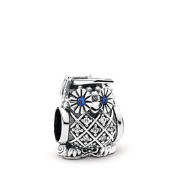 Owl Graduate Charm, Sterling silver, Blue, Mixed stones - PANDORA - #791502NSB