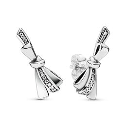 Brilliant Bows Stud Earrings, Sterling silver, Cubic Zirconia - PANDORA - #297234CZ