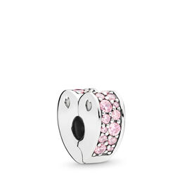 Pink Arcs of Love Clip, Sterling silver, Silicone, Pink, Cubic Zirconia - PANDORA - #797020PCZ