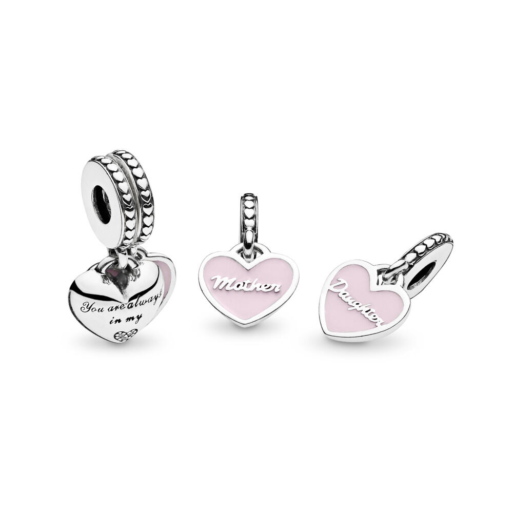 f55cba8d1 Mother & Daughter Hearts Dangle Charm, Sterling silver, Enamel, P