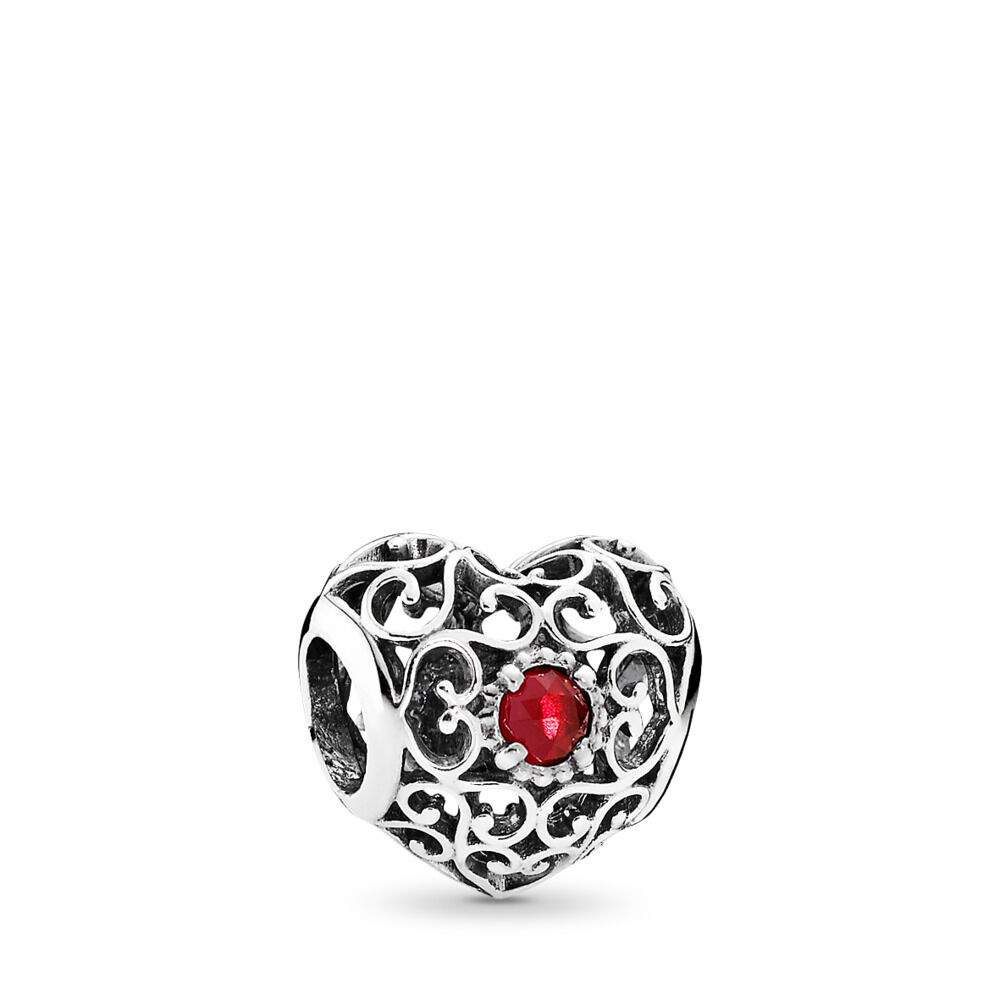 July Signature Heart Birthstone Charm Sterling Silver Red Synt