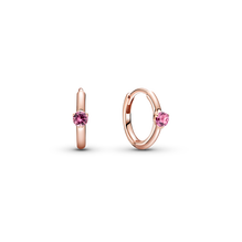 Pink Solitaire Huggie Hoop Earrings