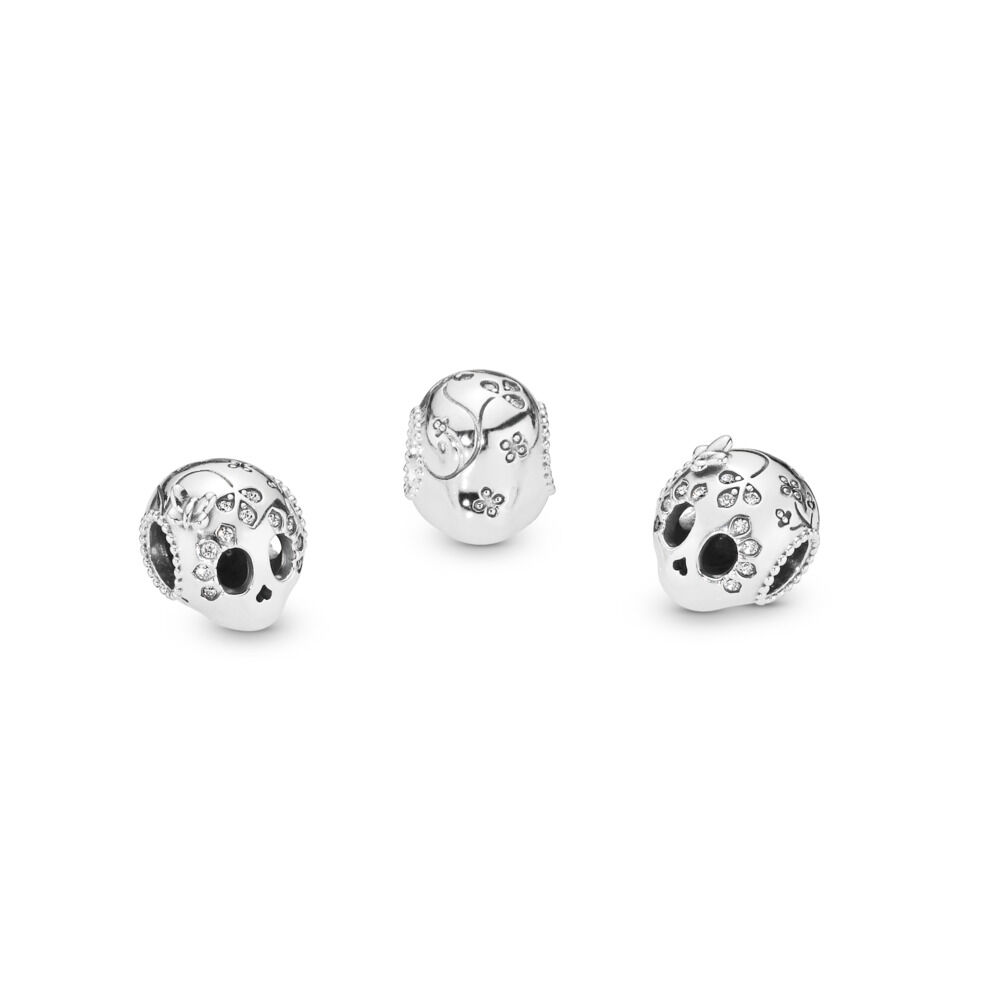 adab4d686 Sparkling Skull Charm, Sterling silver, Cubic Zirconia – Shop PAN