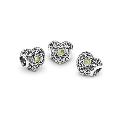 August Signature Heart Birthstone Charm, Sterling silver, Green, Peridot - PANDORA - #791784PE