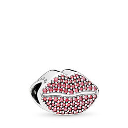 Kiss More Charm, Sterling silver, Red, Cubic Zirconia - PANDORA - #796562CZR