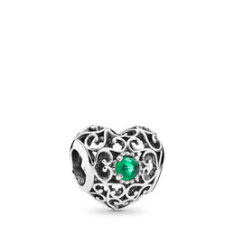May Signature Heart Birthstone Charm, Sterling silver, Turquoise, Crystal - PANDORA - #791784NRG