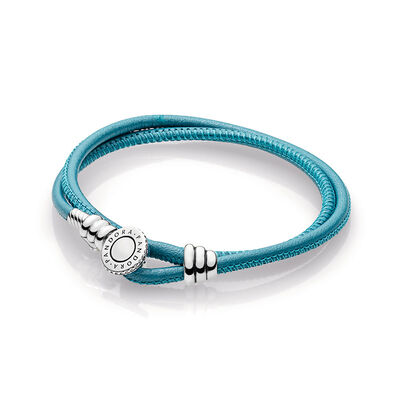 Moments Double Leather Bracelet, Turquoise, Sterling silver, Leather, Turquoise, Cubic Zirconia - PANDORA - #597194CTQ-D
