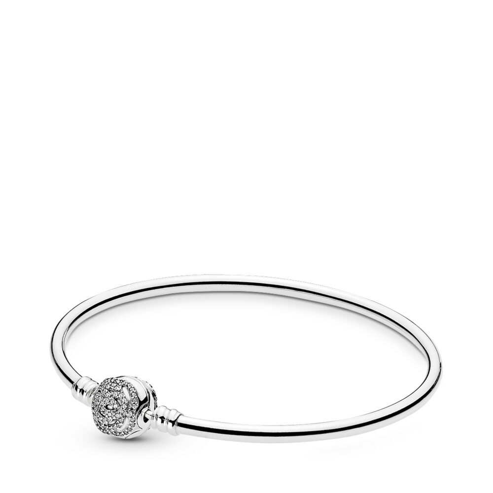 Disney Moments Beauty The Beast Bangle Sterling Silver Cubic