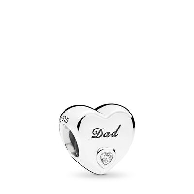 Dad's Love Charm, Sterling silver, Cubic Zirconia - PANDORA - #796458CZ