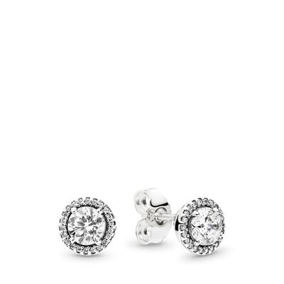Classic Elegance Stud Earrings, Sterling silver, Cubic Zirconia - PANDORA - #296272CZ