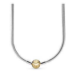 Moments Two Tone Charm Necklace, Two Tone - PANDORA - #590742HG