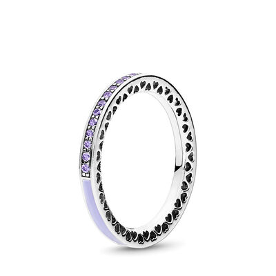Purple Radiant Hearts of PANDORA Ring, Sterling silver, Enamel, Purple, Cubic Zirconia - PANDORA - #191011ACZ