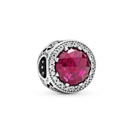 Disney, Belle's Radiant Rose Charm, Sterling silver, Pink, Mixed stones - PANDORA - #792140NCC