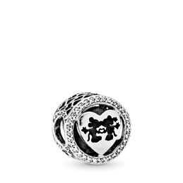 Disney, Mickey & Minnie Love Charm, Sterling silver, Enamel, Black, Cubic Zirconia - PANDORA - #791957CZ