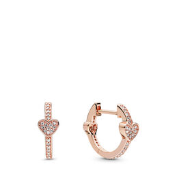 Alluring Hearts Hoop Earrings, PANDORA Rose, Cubic Zirconia - PANDORA - #287290CZ