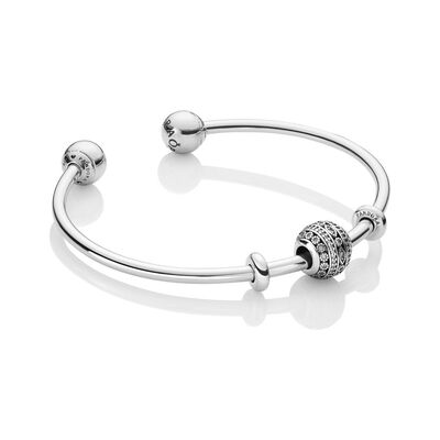 Glittering Shapes Open Bangle