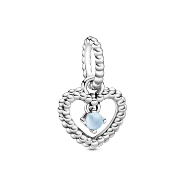 December Birthstone Heart Dangle Charm