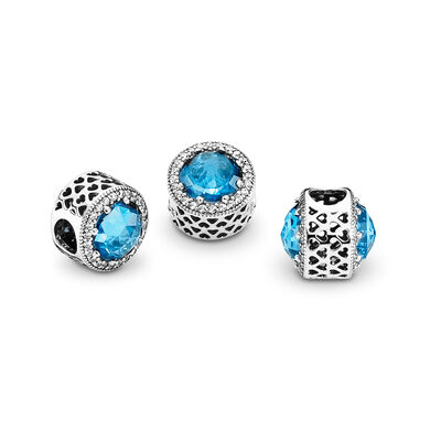 Sky Blue Radiant Hearts Charm, Sterling silver, Blue, Mixed stones - PANDORA - #791725NBS