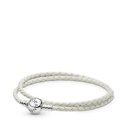 Moments Double Woven Leather Bracelet - Ivory White, Sterling silver, Leather, White - PANDORA - #590745CIW-D