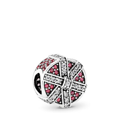 Red Shimmering Gift Charm, Sterling silver, Red, Cubic Zirconia - PANDORA - #792006CZR