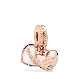 Mother and Daughter Hearts Pendant Charm, PANDORA Rose, Enamel, Silver, Cubic Zirconia - PANDORA - #782072EN23