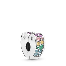 Multi-colour Arcs of Love Clip, Sterling silver, Silicone, Blue, Mixed stones - PANDORA - #797020NRPMX