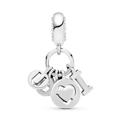 I Love You Pendant Charm, Sterling silver, Pink, Cubic Zirconia - PANDORA - #796596FPC