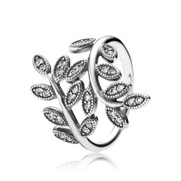 Shimmering Leaves Ring, Sterling silver, Cubic Zirconia - PANDORA - #190921CZ