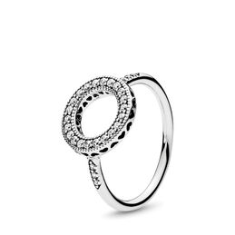 Hearts of PANDORA Halo Ring, Sterling silver, Cubic Zirconia - PANDORA - #191039CZ