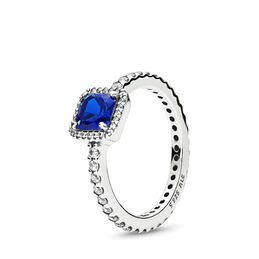 Blue Timeless Elegance Ring, Sterling silver, Blue, Mixed stones - PANDORA - #190947NBT