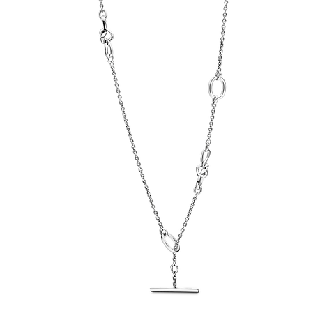 Knotted Hearts T-Bar Necklace